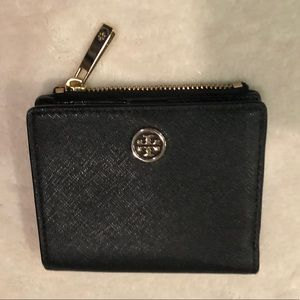 Tory Burch Black & Gold Tone Bifold Wallet